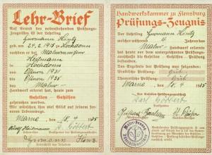 Lehrbrief Hermann Hinz