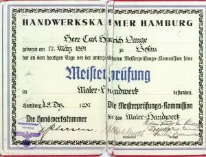 Meisterbrief Carl Lange